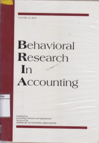 Image of Behavioral Research In Accounting